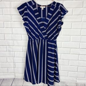 Monteau striped elastic waist faux wrap dress L